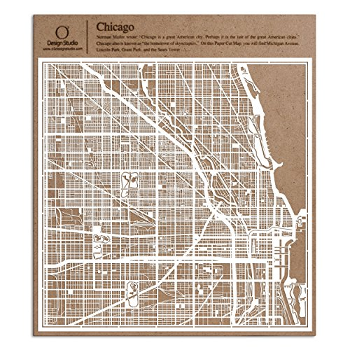 Chicago Paper Cut Map by O3 Design Studio White 12x12 inches Paper Art Souvenir Map