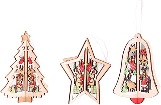Amosfun Christmas Tree Wooden Christmas Wooden Ornamento Pendant Hanging Embellishments Crafts For DIY