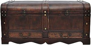 Extaum Vintage Style Storage Box, Trunk Cabinet, Wooden Treasure Chest, Decorative Medieval Chest Organizer Home Collection Furniture Decor Large Brown