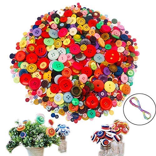 (1220 PCS Mixed Colors Size Assorted Bulk Buttons for Crafts Sewing DIY Children's Manual Button Painting,DIY Handmade)