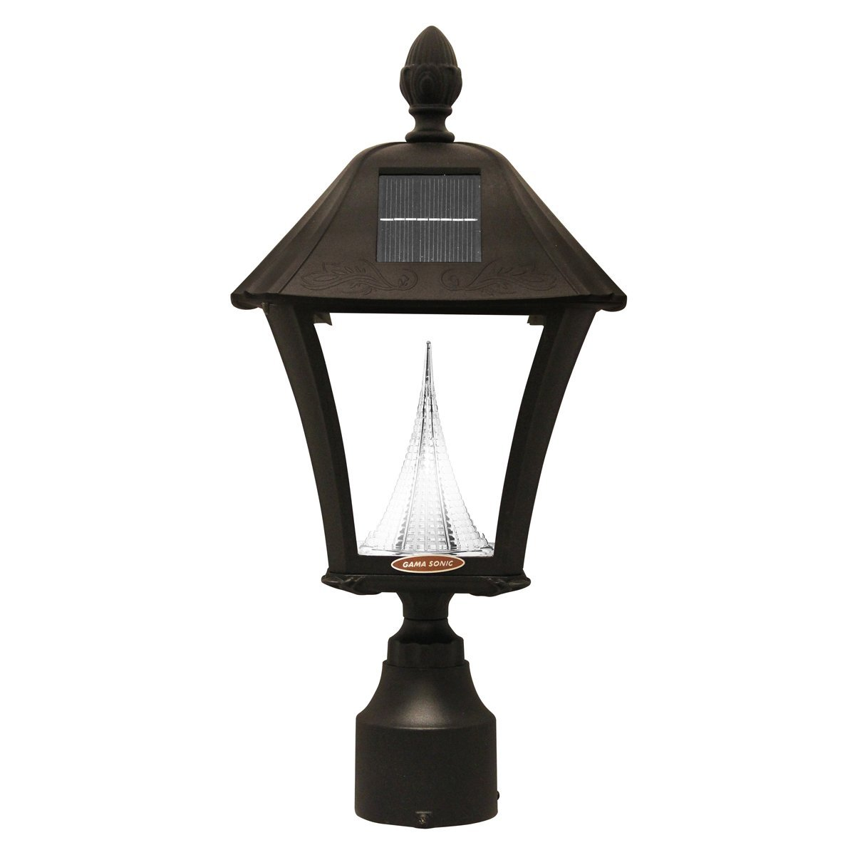 Gama Sonic Manufacturer-Refurbished Baytown Solar Outdoor Warm-White LED Light Fixture, 3-Inch Fitter for Post Mount, Black Finish