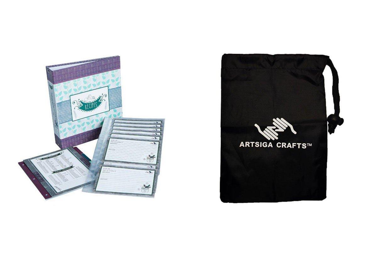 Darice Recipe Cookbook Binder Medern Herbs 40 Pages 40 Cards 4 Tabs (6 Pack) 30008449 bundled with 1 Artsiga Crafts Small Bag
