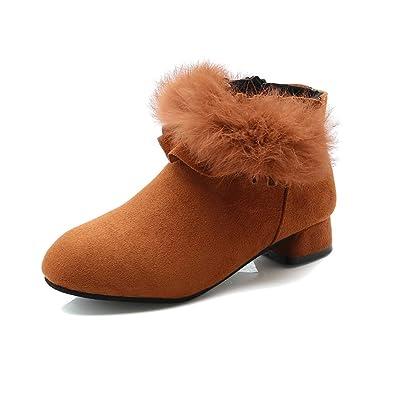 KINDOYO Botines Niña - Botines de Tobillo Forrados de Invierno para Niños Zapatos de Tacón Bajo: Amazon.es: Zapatos y complementos