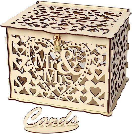 PRETYZOOM - Caja de madera para tarjetas de boda con cerradura y ...