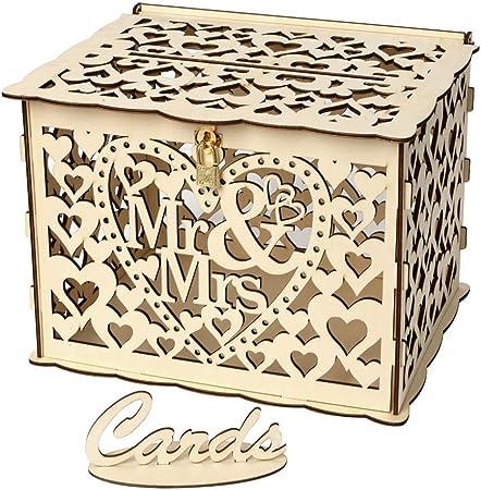 PRETYZOOM - Caja de madera para tarjetas de boda con llave de bloqueo y anillos de goma para decoración de bodas, despedidas de soltera, tamaño pequeño: Amazon.es: Hogar