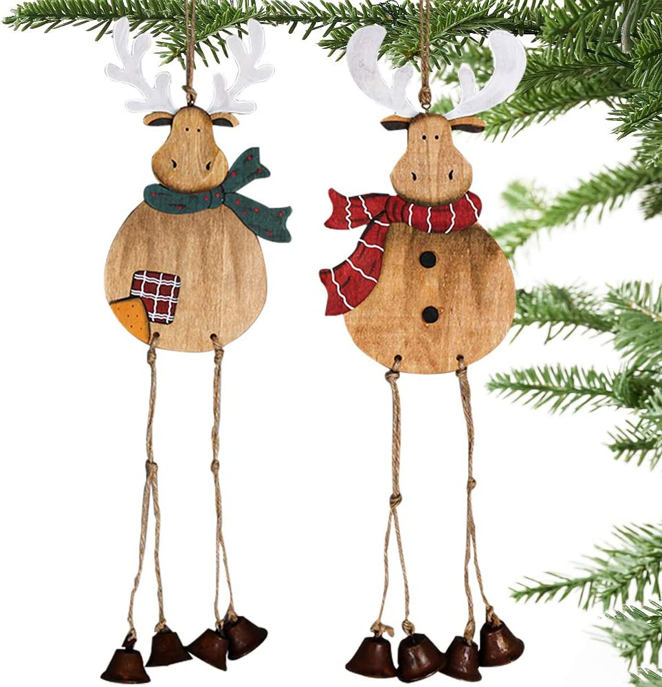 Partybus Christmas Tree Ornaments 2 Pack, Large Handmade Wood Reindeer with Burlap Hanging String Jingle Bells for Outdoor Holiday Home Door Decorations, Country Rustic Wooden Wall Décor