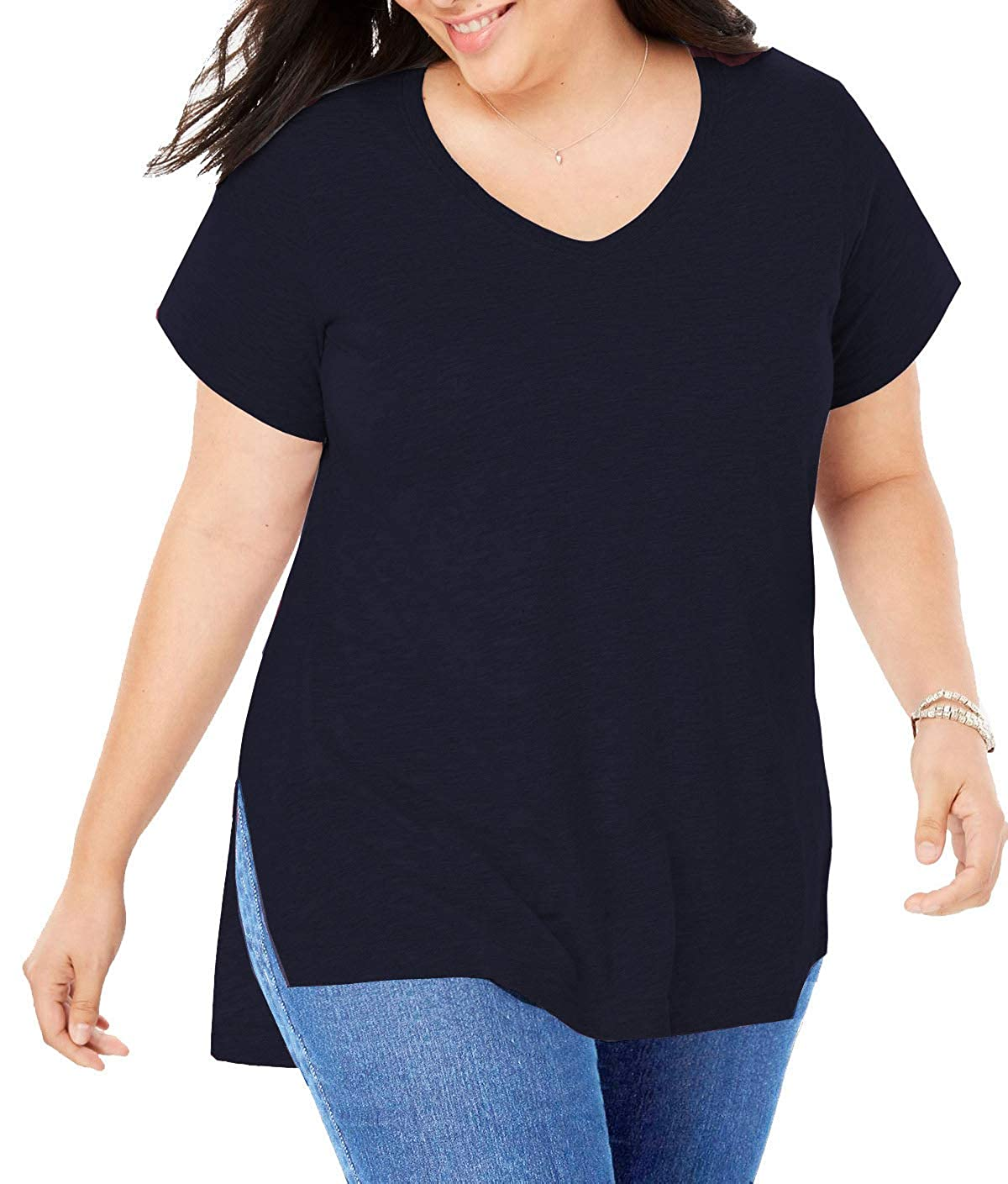 9b826aae6 Women Plus Size Short Sleeve T Shirt Basic Tee Tops High Low Loose Shirts  with Side Split at Amazon Women's Clothing store: