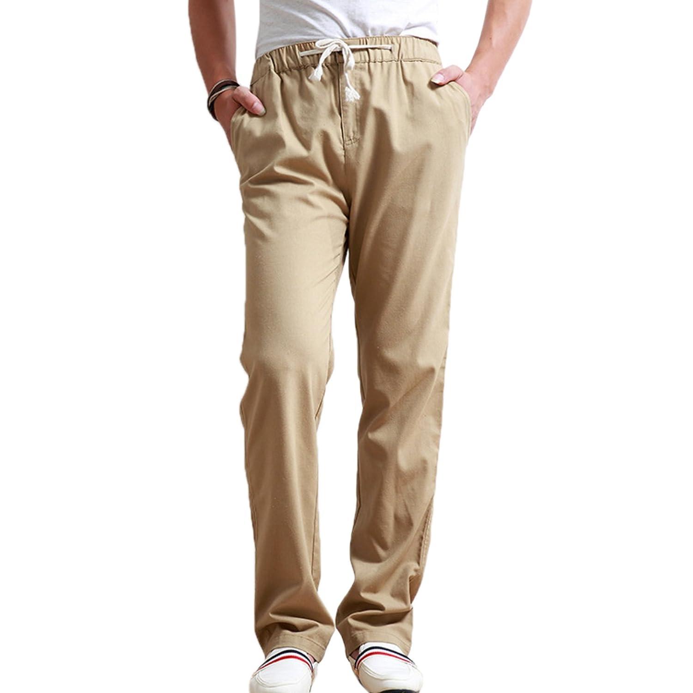 Elonglin Mens Casual Linen Cotton Trousers Elastic Waist Drawstring Summer
