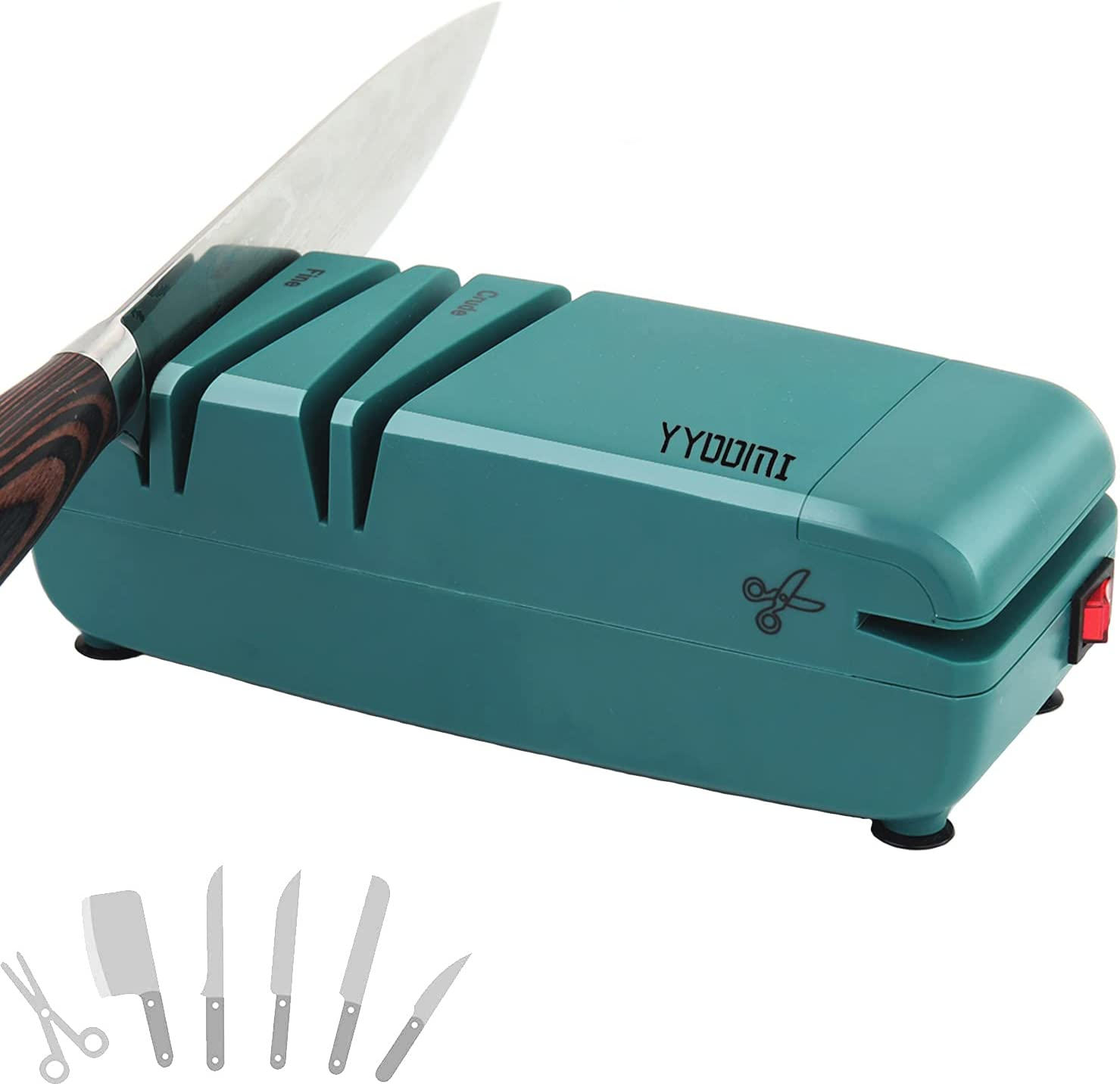 YYOOMI Knife Sharpener, Electric Knife Sharpening with Diamond Abrasives, 2-Stage, Multifunction for Scissors and Screwdriver for Home