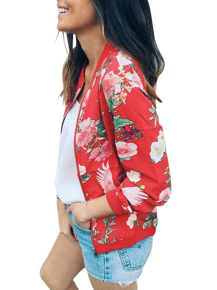 NVXIYYA Women Classic Long Sleeve Zip Up Floral Print Baseball Bomber Jacket Fall Short Coat