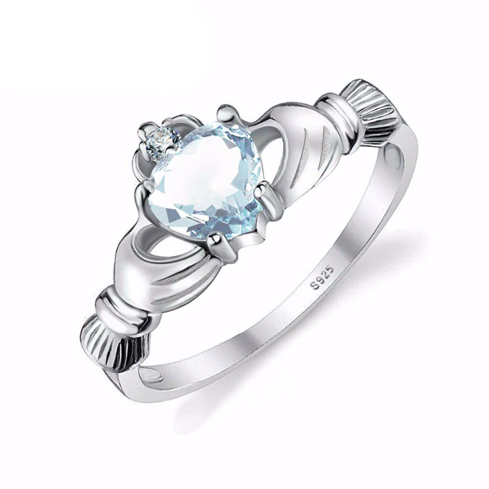 GOMORINGS Rings Heart 100% Natural Aquamarine Irish Claddagh Solid 925 Sterling Silver Fine Jewelry March Birthstone GOMO_RINGS X1KH92L77