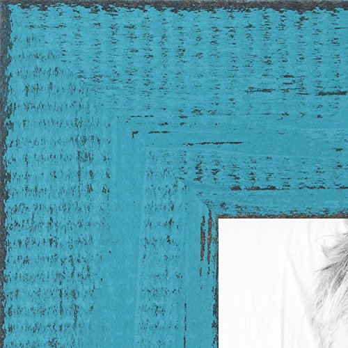 ArtToFrames 5x7 inch Weathered Barnwood in Saturated Teal Wo
