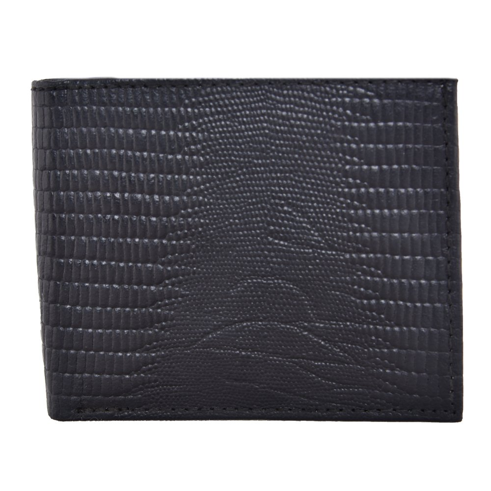LEATHER OF INDIA Men's Leather Wallet Bi Fold - Embossed Lizard 8 X 10X 1 Cm Black