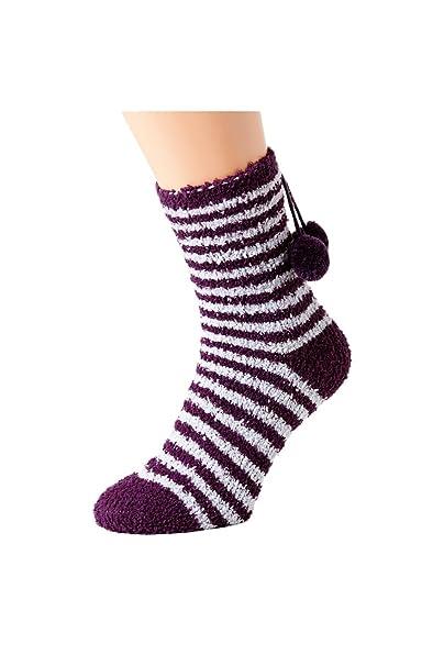 Camille - Pack de 4 pares de calcetines para dormir supersuaves - Lunares morados y rosas