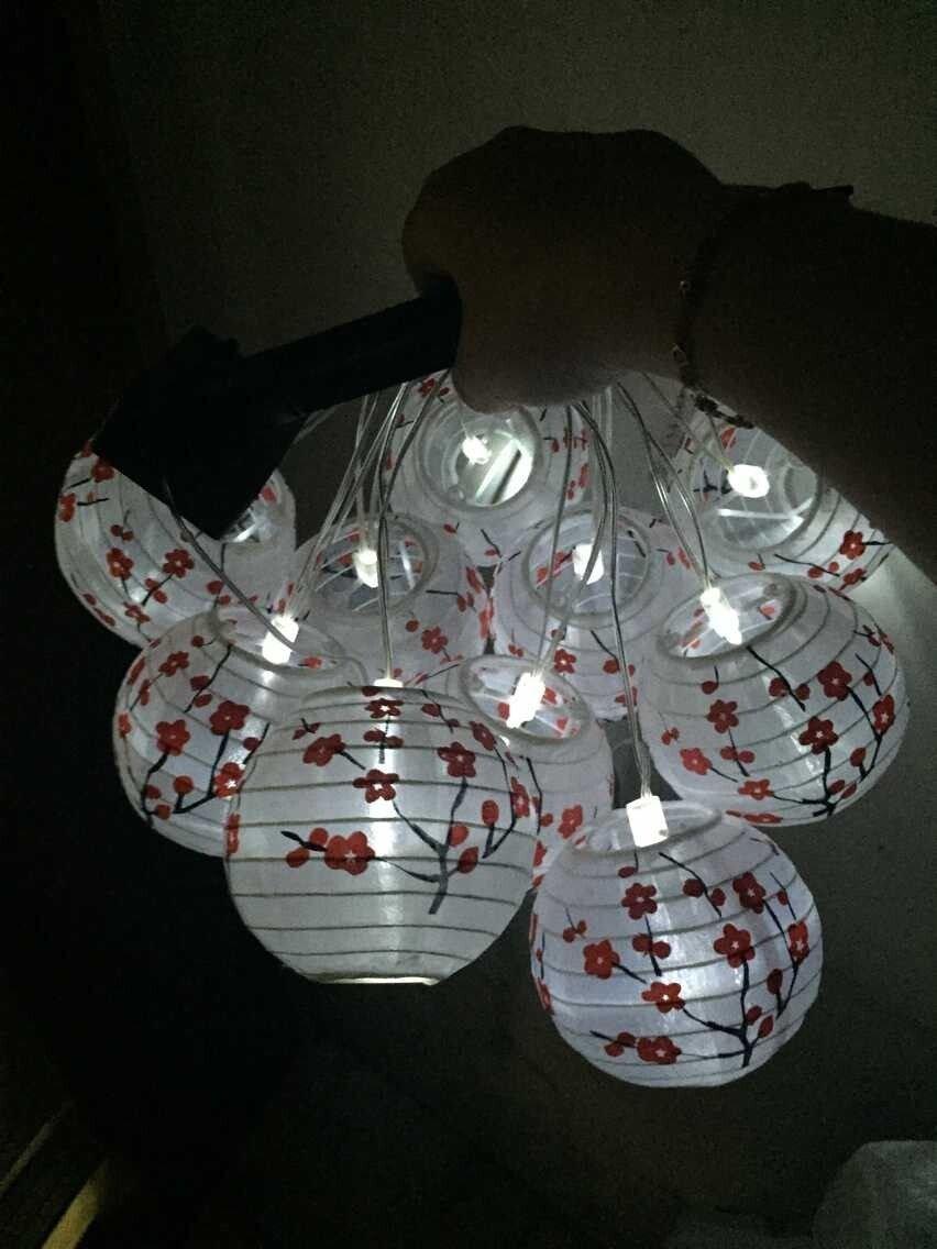 Solar 10 Flower LED Lantern String Lights , Solar Power LED Cherry Blossom, Plum Blossom Decorative Garden Porch Lantern