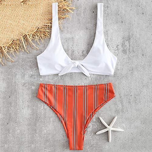 Damen Bikini Set Top Hose Neckholder Triangel Badeanzug Unifarben Schwarz Rot
