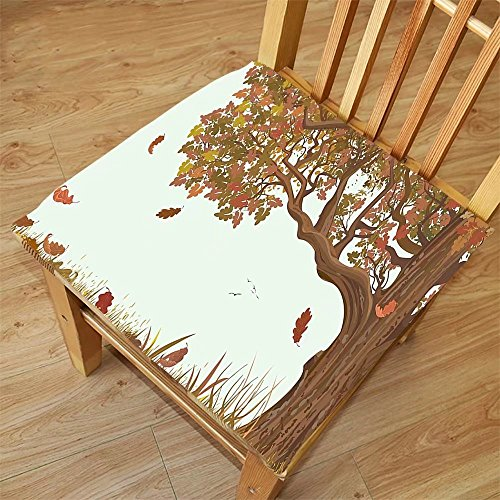 Nalahome Set of 2 Waterproof Cozy Seat Protector Cushion Tree of Life Autumn Season Fall Shady Deciduous Oak Leaves in Park Countryside Artwork Umber Redwood Printing Size - Oak Leaf Sunglasses