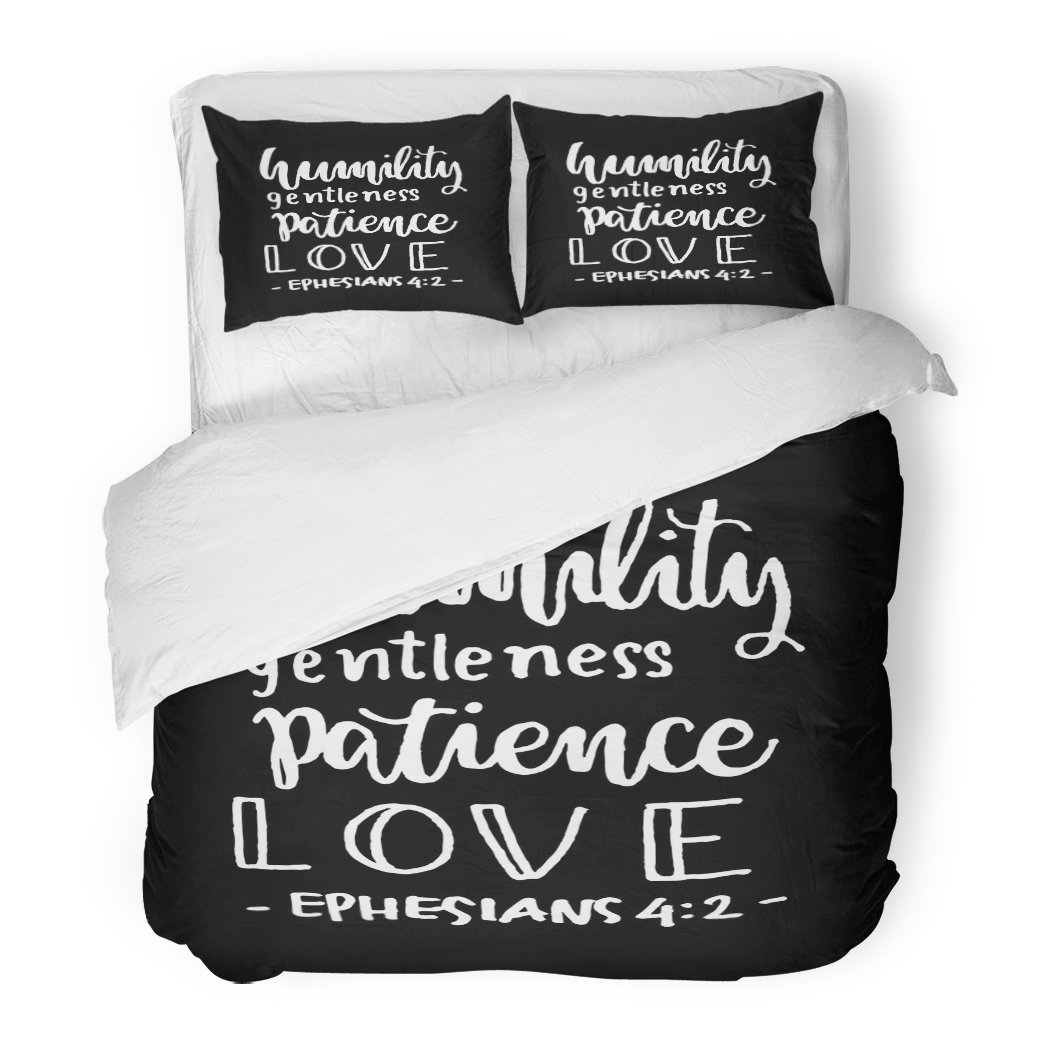 SanChic Duvet Cover Set Believe Humility Gentleness Patience Love Hand Lettered Quote Bible Verse Modern Calligraphy Christian Decorative Bedding Set with 2 Pillow Shams Full/Queen Size by SanChic