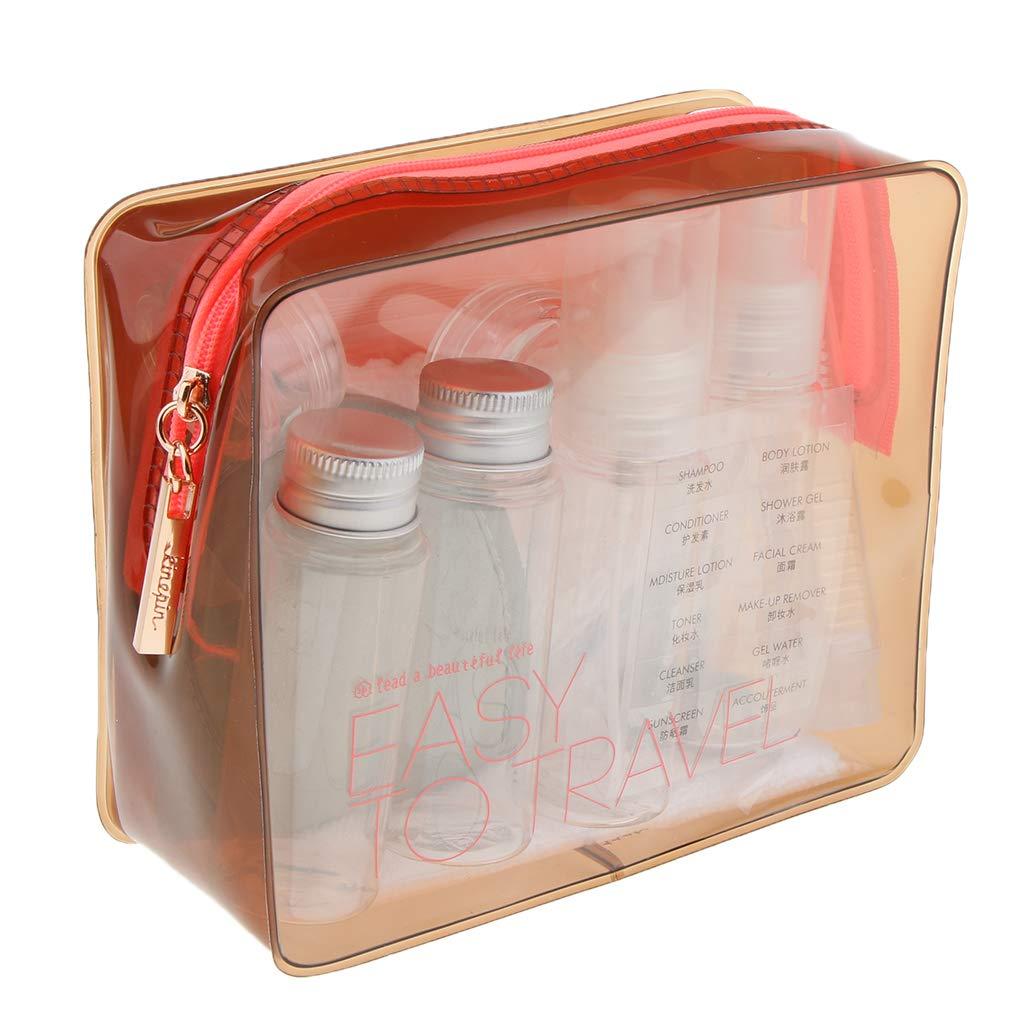 Fenteer Transparenter Kulturbeutel Kulturtasche mit Reiseflaschen Set