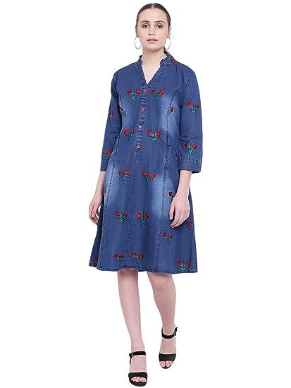 b954c7bcac PINKY PARI Blue Denim Embroidered FIT   Flare MIDI Dress  Amazon.in ...
