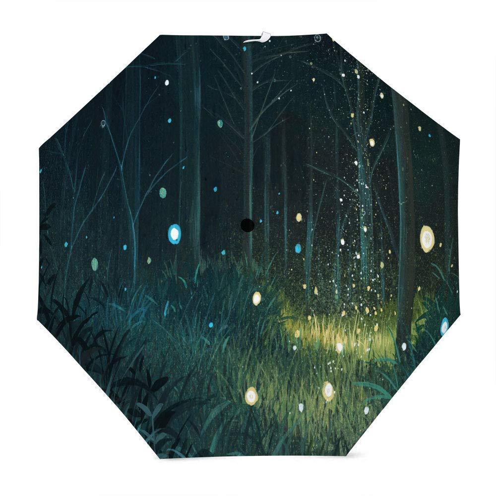 Muccum Firefly Forest Dream Parapluie de Voyage Compact Portable à séchage Rapide Manche Anti-Glissement avec Cadre résistant au Vent et renforcé pour Le Parapluie Parasol Sun and Rain