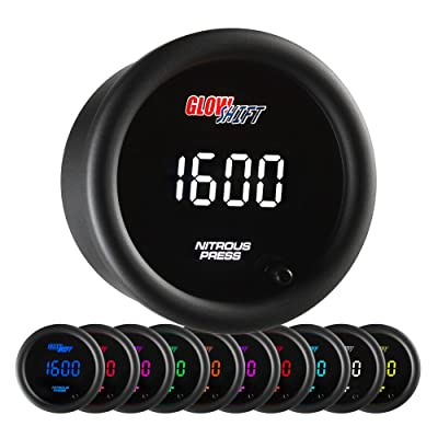 "GlowShift 10 Color Digital 1,600 PSI Nitrous Pressure NOS Gauge Kit - Includes Electronic Sensor - Multi-Color LED Display - Tinted Lens - 2-1/16"" (52mm): Automotive"