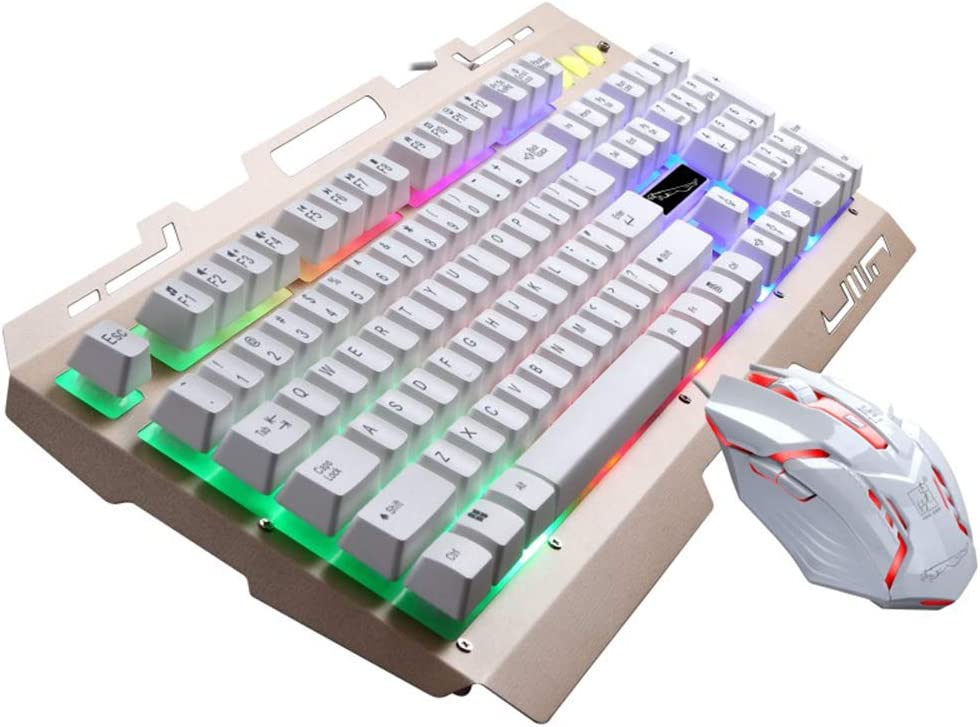 LED Illuminated Mechanical Feeling USB Wired Anti-ghosting Gaming Keyboard Water-Resistant Non-Slip Computer Keyboard and Mouse Set,White LoMe RGB Backlit Keyboard and Mouse