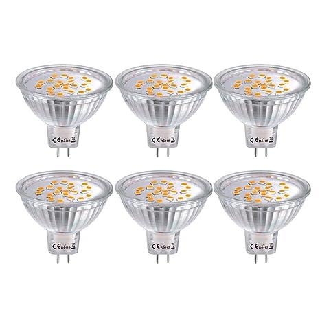 6X MR16 Bombillas LED GU5.3, Bombillas LED Foco 12V 4W, 35W Luz halógena Equivalente,Blanco Cálido 2800K, 360Lumen Ángulo de haz de 120 grados