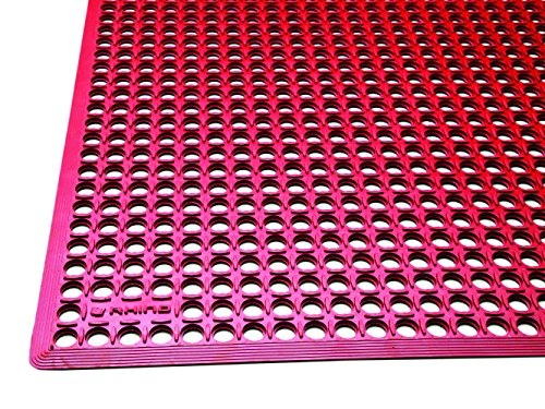 Rhino Mats KCT-3660R K-Series Comfort Tract Anti-Fatigue Drain-Thru Mat 3' x 5', 0.5'' Height, 36'' Width, Red by Rhino Mats