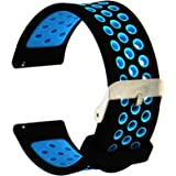 Veczom 20mm 22mm Quick Release Rubber Silicone Watch Bands for Men Women Smartwatch Replacement Band Strap