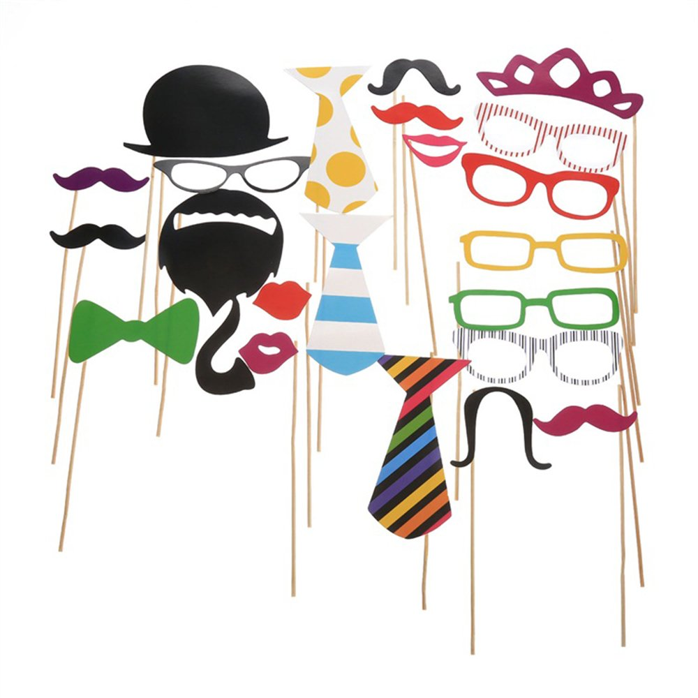 Wedding Photo Booth Props with Strike For Party, Pose Sign 22 Printed Pieces with Wooden Sticks, Accessories Decorations for Birthday Parties, Hipster Bow Tie, Social Media Like Button, Grillz Teeth by COFFLED (Image #6)