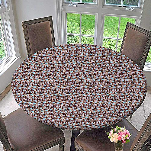 Mikihome Round Fitted Tablecloth Sailor Web Net with Braid Like Lines on Blue Backdrop Brown and Blue for All Occasions 50