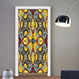 Gzhihine custom made 3d door stickers Oriental Middle Orient Eastern Indian Islamic Different Floral Swirl Detailed Image Artwork Multicolor For Room Decor 30x79