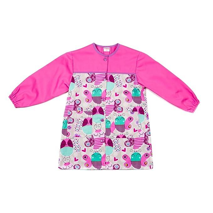 Dyneke Bata escolar botón rosa Papillons (personalización opcional gratuita con nombre bordado)(Talla