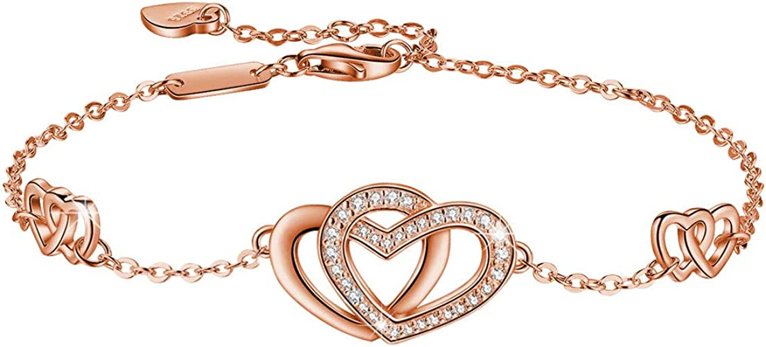 Genuine 925 sterling silver double heart bracelet with free gift box