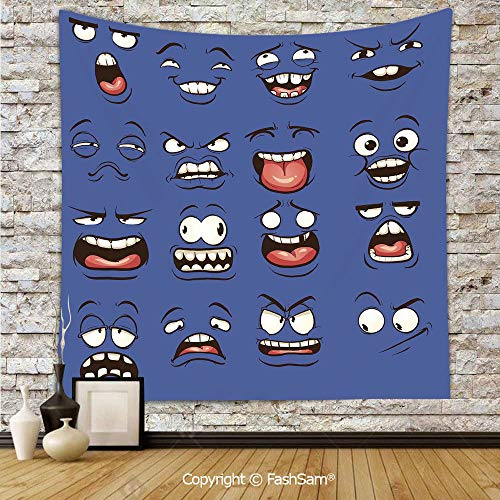 FashSam Polyester Tapestry Wall Smiley Surprised Sad Fierce Happy Sarcastic Angry Mood Faces Expressions Plain Art Print Hanging Printed Home Decor(W39xL59)]()