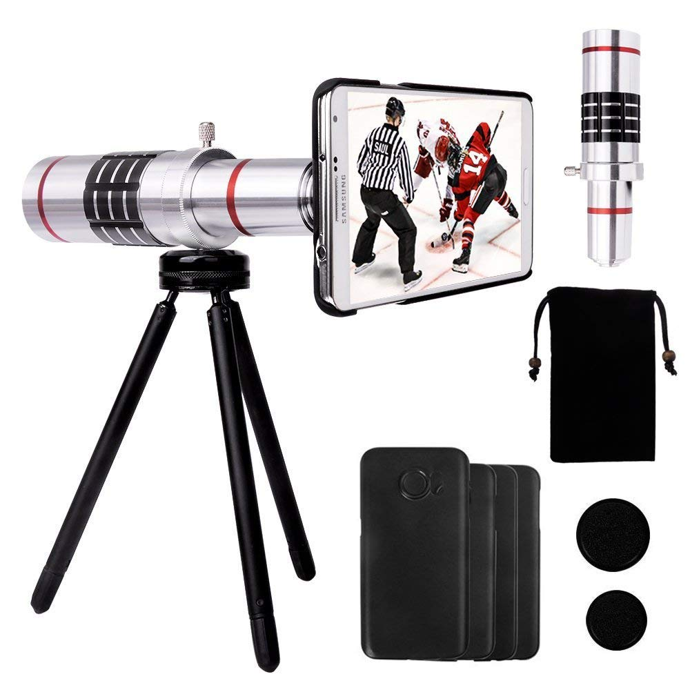 Yarrashop 18X Telephoto Lens for Samsung Telescope Camera Lens Kit with 18x Aluminum Lens +Tripod + Hard Case + Velvet Bag + Cleaning Cloth for Samsung Galaxy S7 Edge/S6 Edge/S7/S6 by Yarrashop