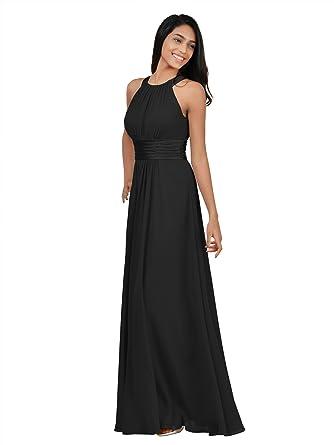 5e6c68233ca Alicepub Sleeveless Bridesmaid Dresses Long for Women Formal Elegant Halter  Evening Dresses for Weddings Empire Maxi