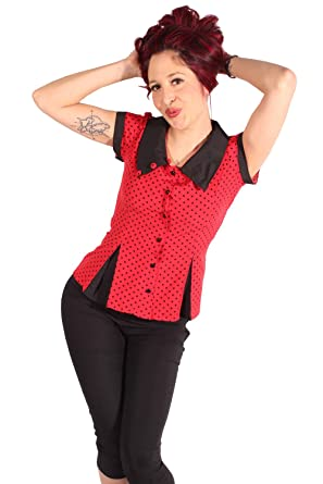 90431055b96543 SugarShock Damen Rockabilly Polka DOTS Kellerfalten Bluse: Amazon.de:  Bekleidung