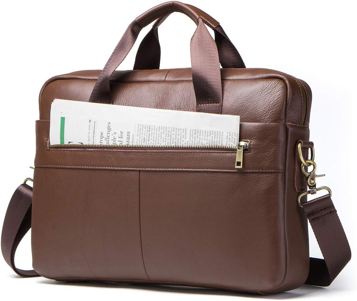Contacts Genuine Leather 14 Mens Messenger Shoulder Bag Laptop Briefcase Brown