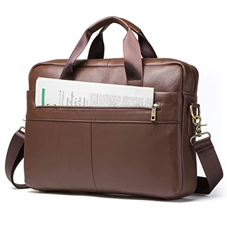 647bba3b4cec Image Unavailable. Image not available for. Color  Contacts Genuine Leather  14 quot  Mens Messenger Shoulder Bag Laptop Briefcase Brown
