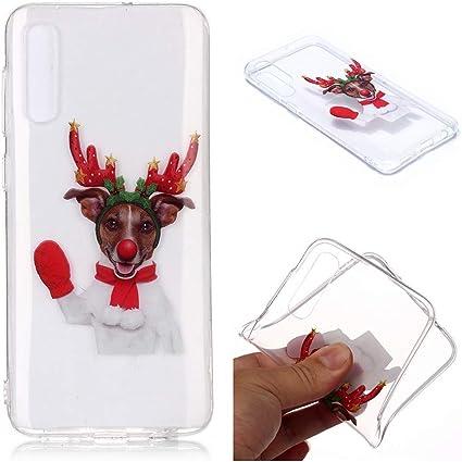 MUSESHOP para Samsung Galaxy A50 Funda Transparente Case Suave TPU Silicona Carcasa Estuche Delgado Silicona Caja del Teléfono de Navidad para Hombres Mujeres, Alces de Navidad: Amazon.es: Electrónica