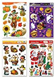 Fall/Winter Holiday Static Cling Window Decorations - 4 Large Sheet Sets - Fall, Halloween, Thanksgiving and Christmas