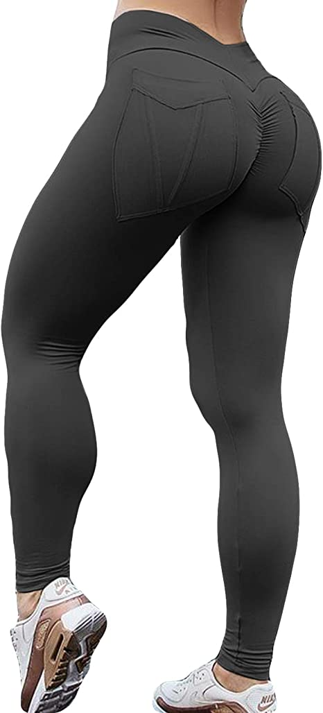 Womens High Waist Yoga Pants Push Up Leggings FItness GYM Sport Workout Trousers