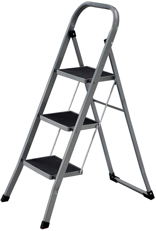 Aluminium Flodieren Trittleiter Stahl Faltbar Tragbar Breit Rutschfest Gummi f/ür Haus//K/üche//Garage Profile Heavy Duty 150kg Kapazit/ät Color : Black-4 step