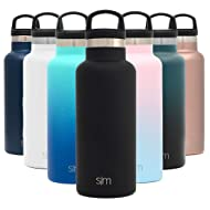 Simple Modern 17oz Ascent Water Bottle - Stainless Steel Flask w/Handle Lid - Hydro Double Wall Tumbler Vacuum Insulated Black Small Reusable Metal Leakproof -Midnight Black