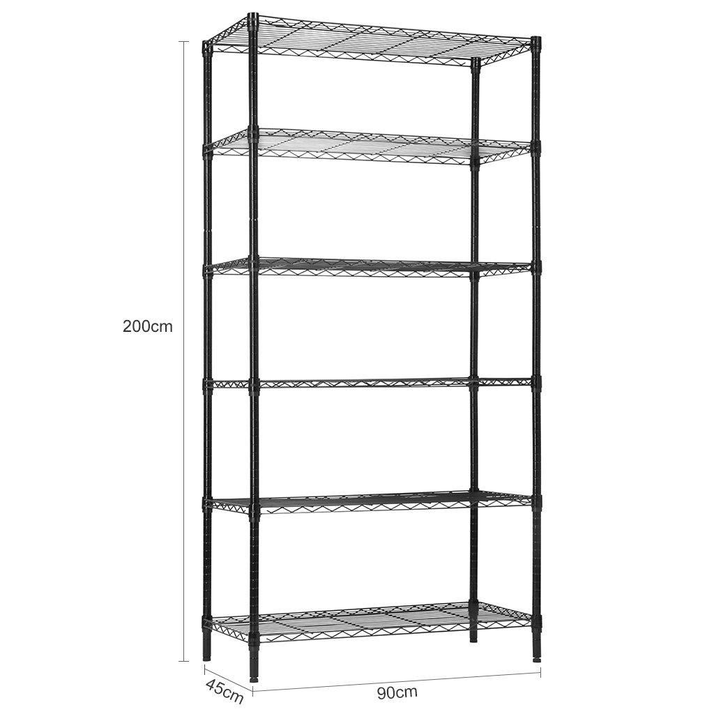 Storage Rack Garage Shelf Heavy Duty Metal Shelves Black LANGRIA 6 Tier Garage Shelving Shelving Unit