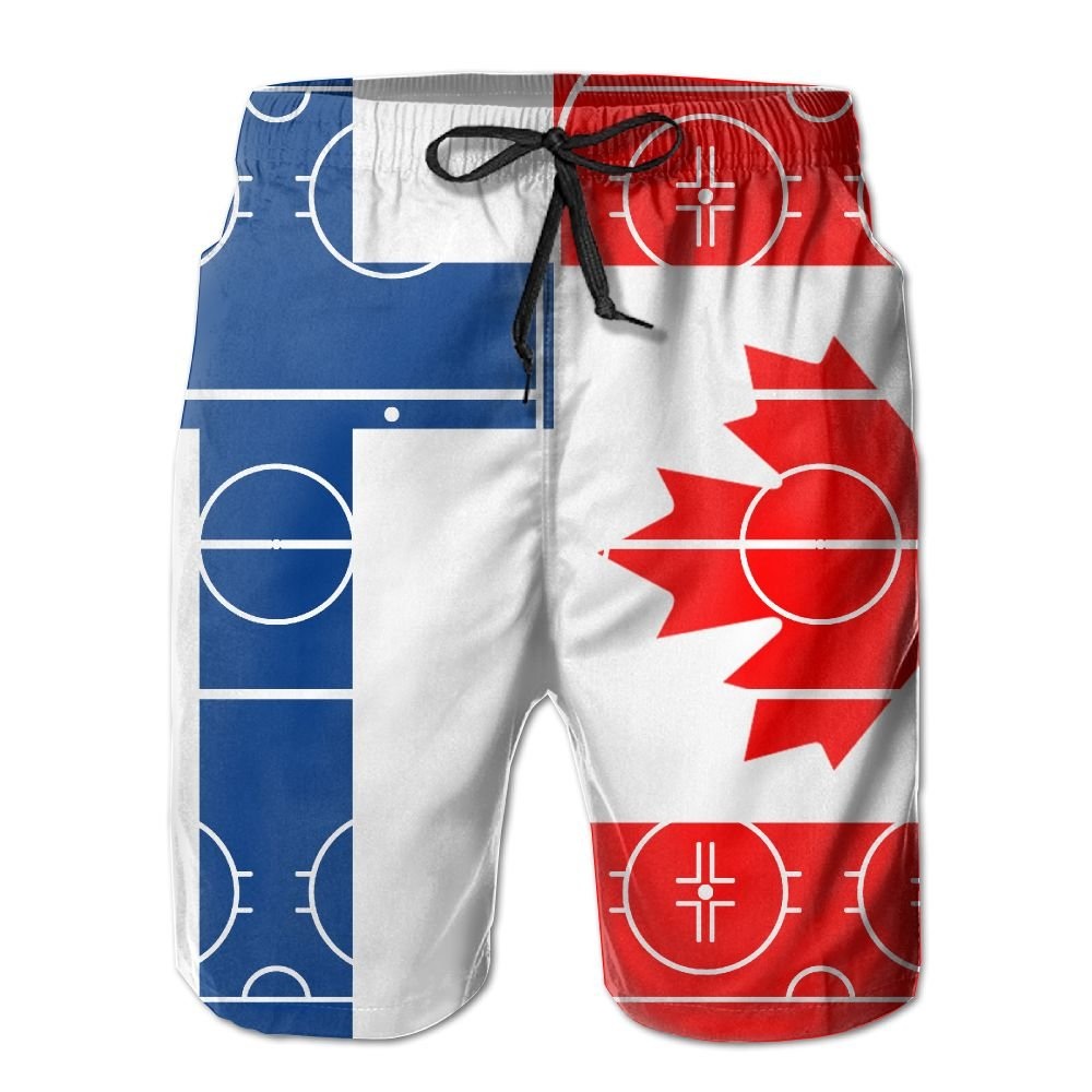 Men's Summer Ice Hockey Finland Vs Canada Flag Quick Dry No Mesh Lining Beach Shorts Swim Trunks PB-ZINAN