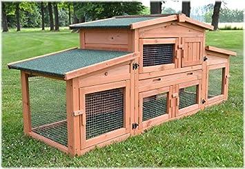 6a9fbcf937340d Zooprimus Cage Clapier lapin Extérieur en bois de pin Haute Qualité pour  lapins 185x51x75cm - 037