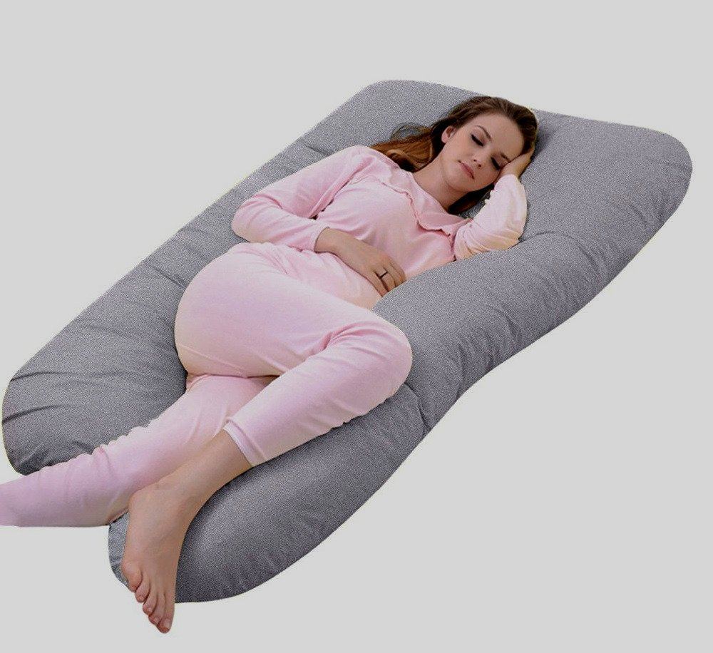 U Shaped Body Support Pregnancy Maternity Pillow With Washable Jersey Case Pillow Gray - Skroutz